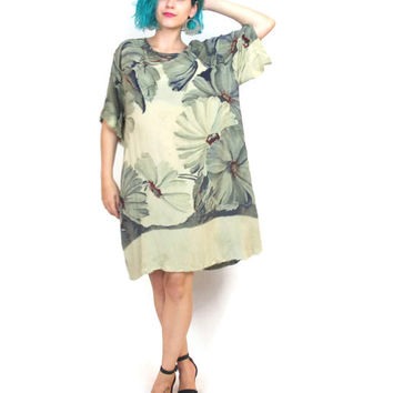 90s Painterly Floral Kaftan Mini Dress Oversize Gauze Draped Short Sleeve Caftan Artsy Tunic Dress (M/l)