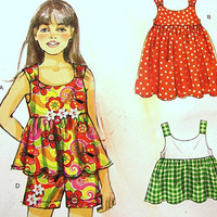 McCalls Girls Toddler Dress Pattern size 1 2 3 4 5 6 UNCUT Dress Tops Shorts Pants Easy to Sew