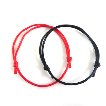 2pieces Simple Style Handmade Black And Red String Kabbalah Lucky Bracelet Against Evil Eye Success for Women Men Jewelry