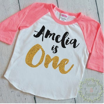 Girl First Birthday Outfit One Birthday Shirt PERSONALIZED One Year Old Girl Birthday Outfit First Birthday Girl Shirt Raglan 091