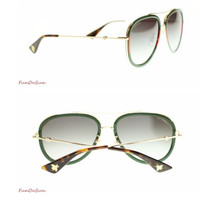 Gucci Gucci female pilot sunglasses sunglasses, GG0062S 003 gold green gradient 57mm.