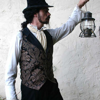 Brown and Black Floral Tapestry and Silk Steampunk Victorian Lapeled Gentlemen's Vest
