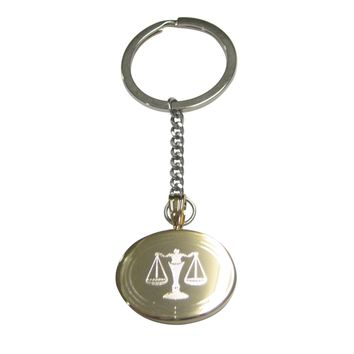Gold Toned Etched Oval Scale of Justice Law Pendant Keychain