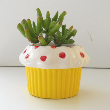 Sweet Heart Cupcake Planter in Lemon Great Cupcake Lover Gift