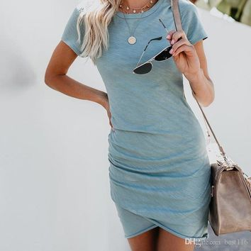 Sexy Dresses Women Summer Mini Dress Short Sleeve Solid Bodycon Slim Party Dress Casual Bodycon Beach Dress Plus Size