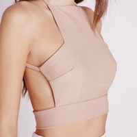 CROSS BACK CREPE CROP TOP TAUPE