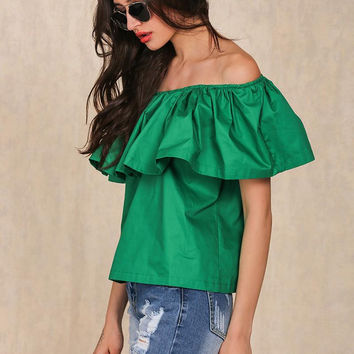Ruffled Off Shoulder Summer Style Tops for Women