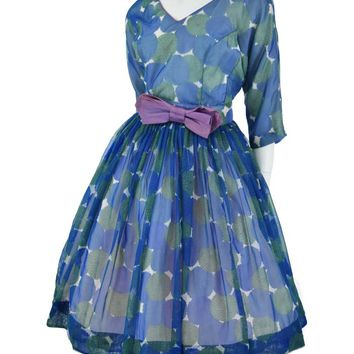 60s Blue Floral Print Chiffon Party Dress-M