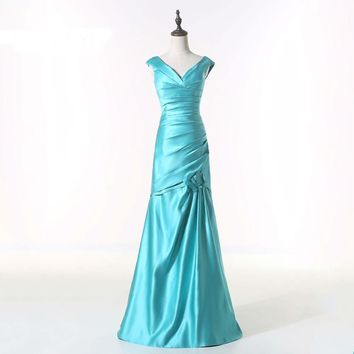 New Girl V-neck Sky Blue Satin Long Mermaid Bandage Dress Lady Office Sexy Prom Dresses