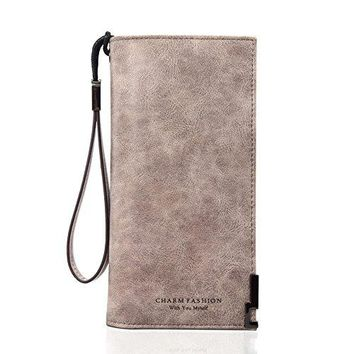 Charm Fashion Women Long Leather Card Holder Wallets to Organize Your CashPassportCardand Phone with Removable Wristlet StrapZipper Clutch Purse