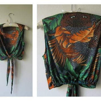 70s Jungle Jaguar Tie Bolero Shrug Jacket OR Crop Top -- Funky Rainforest Kitsch Leopard Print Polyester Disco Hipster Fashion!
