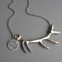 Personalized Hand-Stamped Antler Necklace: Deer Widow, Hunting Necklace, Unique women's necklace, stocking stuffer, Christmas