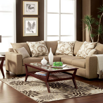 Furniture of america SM3016 Cranbrook beige fabric sectional sofa with square arms