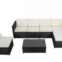 7 PCS Outdoor Patio Sofa Set Sectional Furniture PE Wicker Rattan Deck Couch F4
