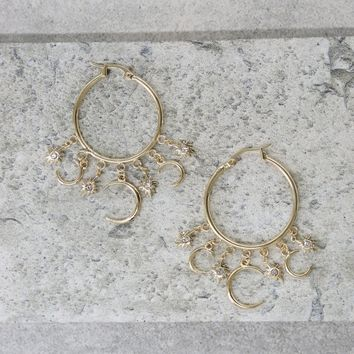 Moon Dust Hoops in Gold