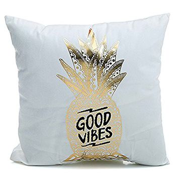 "Kingla Home Flannel Bronzing Home Throw Pillow Covers Pineapple Printed ""GOOD VIBES"" Cushion Cases 1818 inch Cute Pillow Case"