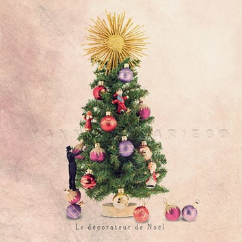 Christmas tree, Christmas gift, Christmas decorations, Christmas, Children decor, Fun art print, 6x6 (15x15cm)