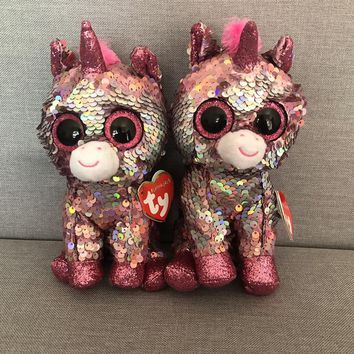 TY 6'' 15cm Beanie Boos Pixy Unicorn Owl Dog Cat Leopard Monkey Dragon Gorilla kangaroo Penguin Cow Fox Reg Plush Doll Toy