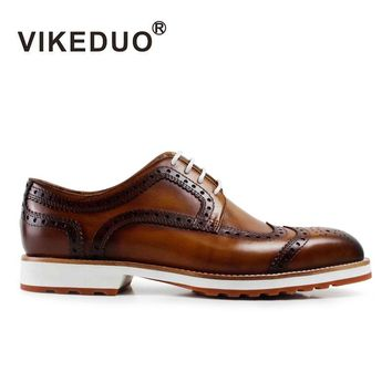 VIKEDUO Brand Vintage Men handmade Derby Shoes Full Real  leather Hand Painted Shoes Exclusive Design Bespoke Summer Footwear