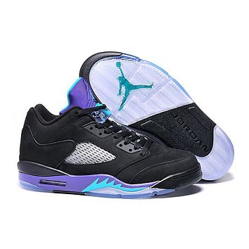 Air Jordan 5 Retro Low Black/purple Men Leather Sneaker Us8 12 | Best Deal Online