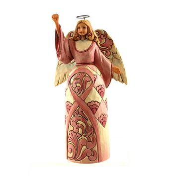 Jim Shore NEVER ALONE IN THE FLIGHT Breast Cancer Angel Figurine 4044520