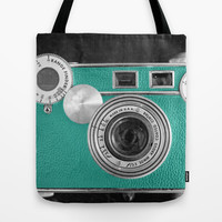 Teal retro vintage phone Tote Bag by Wood-n-Images