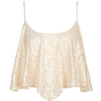 Cream Metallic Lace Hanky Hem Crop Cami