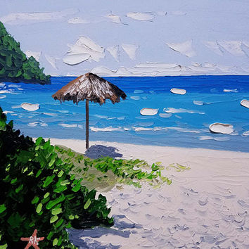 Palette Knife Painting by Ryan Kimba, Original Oil Painting on Canvas, Beach Art, Seascape, Impressionistic, Tiki Hut and Waterfall