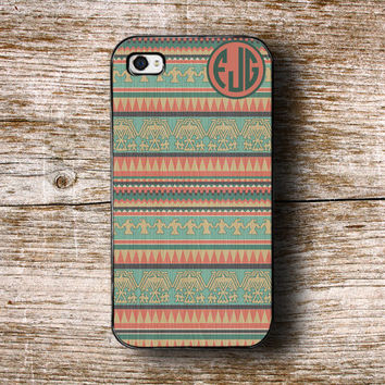 iPhone 5 case, iPhone 4s, iPhone 5c case, fits iPhone 4/4s/5/5s/5c - Wood iPhone case with Aztec design - monogrammed Tribal iPhone (1269)