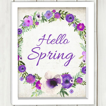 Hello spring printable art,DIGITAL FILE, wall art, printable art, purple flowers