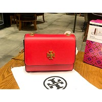 Tory Burch 2019 new women's high-end versatile mini zipper organ bag shoulder bag red