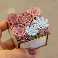 ONLY ONE Purple Pink Succulent Glass Ring Box Wood Round Decorated Engagement Ring Holder Marriage Offer Ring Case Wedding Engegement Gift