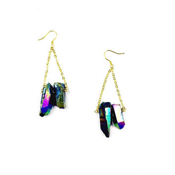 Titanium Quartz Earrings - Druzy Studs, Crystal Drop Earrings, Dangly Earrings, Crystal Jewelry, Titanium Jewellery, Boho