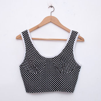NOS vintage black crop top  polka dot size M by blessthatdress