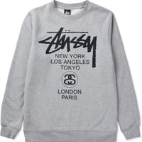 Stussy Heather Grey World Tour Sweater