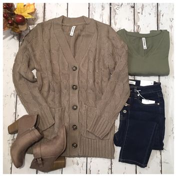 Cozy Ash Mocha Thick Classic Cable Knit Cardigan