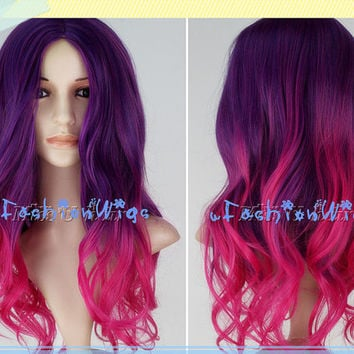 Purple to Hot Pink Ombre Cosplay Wig, Long Ombre Cosplay Anime Wigs for Party UF087