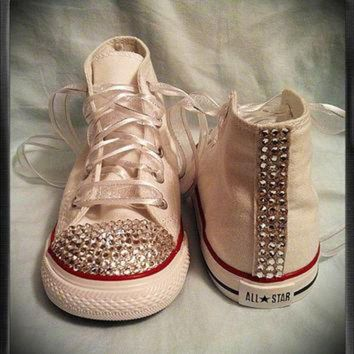 fcc9841462d5 CREYUG7 White high top bling chuck Taylor converse