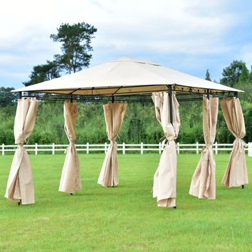 10'x13' Gazebo Canopy Shelter Patio Party Tent Outdoor Awning W/Side Walls NEW