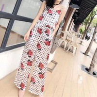"""Louis Vutitton"" Women Fashion Animal Logo Print Sleeveless Strap Vest Wide Leg Pants Trousers Set Two-Piece"