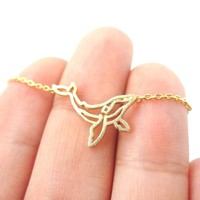 Realistic Humpback Whale Silhouette Animal Charm Necklace in Gold | DOTOLY
