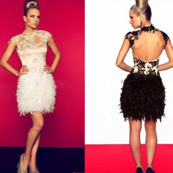 fashion black mini cocktail dresses 2017 Feathers high neck backless short prom gown for coctail party vestidos de coctel