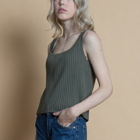 Vintage 90s Olive Gray Ribbed Knit Basic Tank Top | S/M