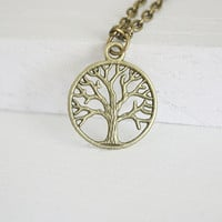 Tree of Life Necklace, Antique Brass, Bronze