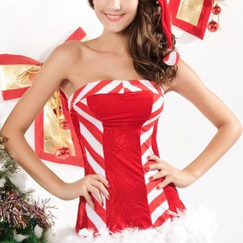 New Women Red Striped Bustier With Cap Christmas Dress