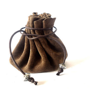 Drawstring leather pouch, Coin Purse, Dark brown