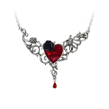 Alchemy Gothic The Blood Red Heart & Black Heart Pendant Necklace