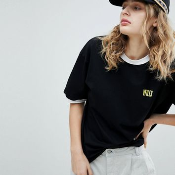 VFILES Logo T-Shirt In Black at asos.com