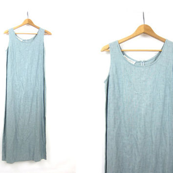 LINEN & RAYON Dress Minimal Dress Vintage 90s Natural Basic Simple Look Light Blue Sun Dress Maxi Dress with Side Slips Womens 8