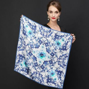 ESBU3C Hot Sale Brand Flowers Pattern Silk Scarves Wraps For Women 2016 Fashion Natural Pure Silk Shawl Square Mulberry Silk Scarf